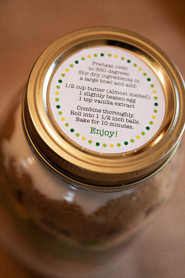 John Deere birthday party favors - cookie mix with FREE printable recipe circles from Chickabug