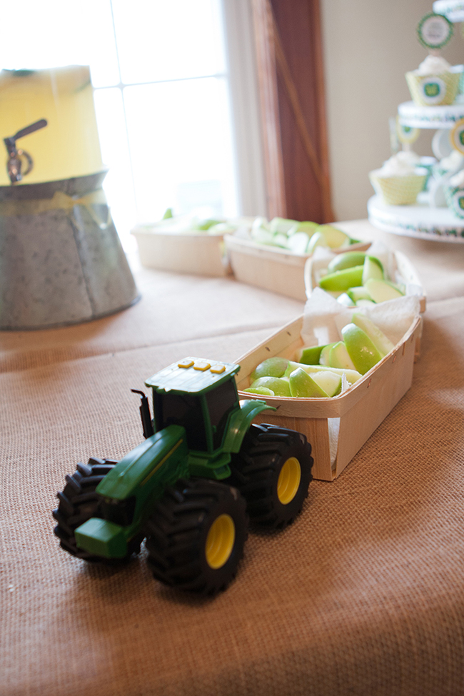 "A John Deere tractor ""towing"" berry baskets - SUCH a cute idea!! (baskets are from Garnish)"