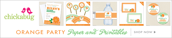 Orange theme party paper goods and printables from Chickabug - www.chickabug.com