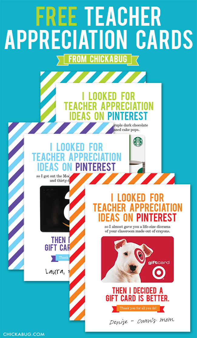 60 teacher appreciation gift ideas printables free teacher appreciation cards from chickabug cute and funny negle Gallery