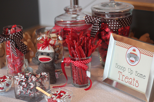 Sock monkey party - candy bar with a printable sign from Chickabug