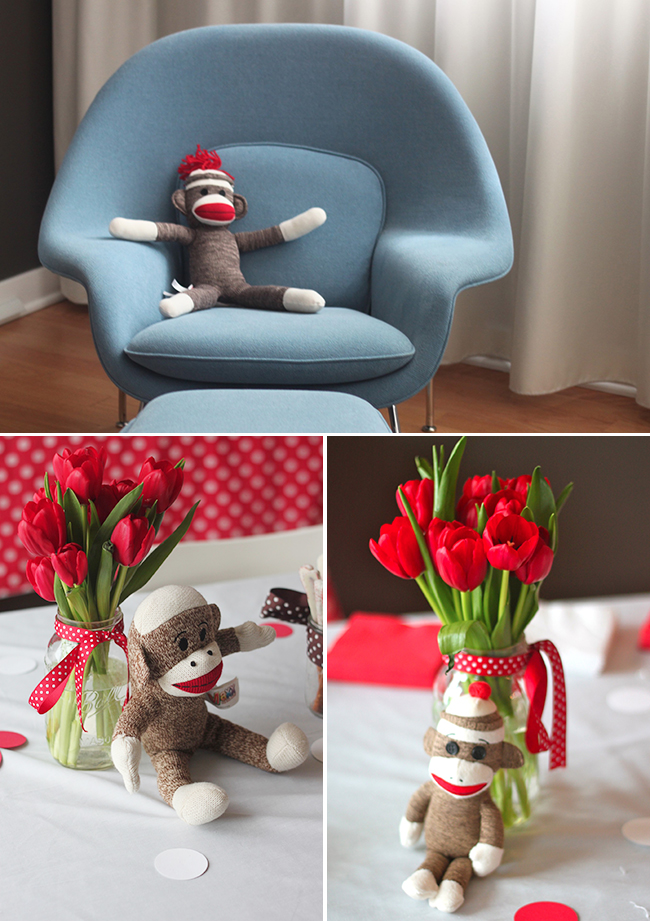 Sock monkey theme first birthday party