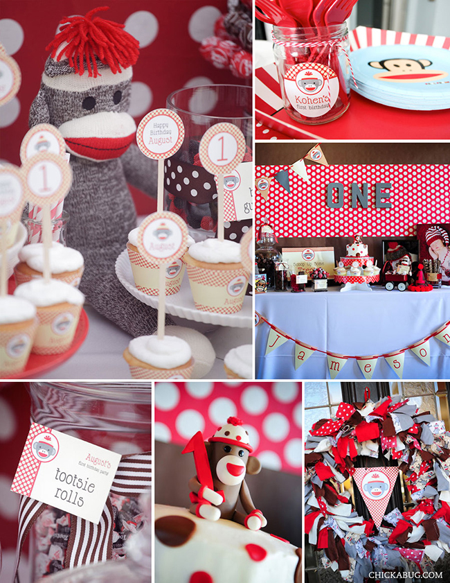 Download image sock monkey birthday party printables from chickabug pc