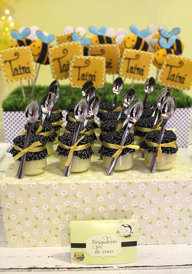 Bumblebee birthday party - jars of honey