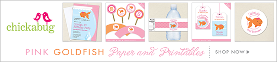 Pink goldfish theme paper goods & printables from Chickabug