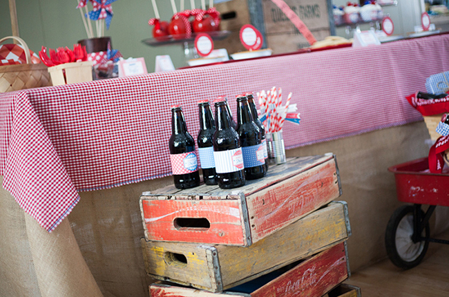 Vintage crates and soda bottles