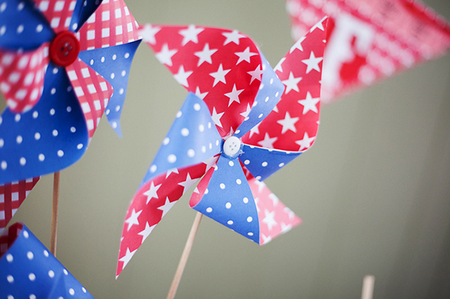 DIY patriotic red, white, and blue pinwheels