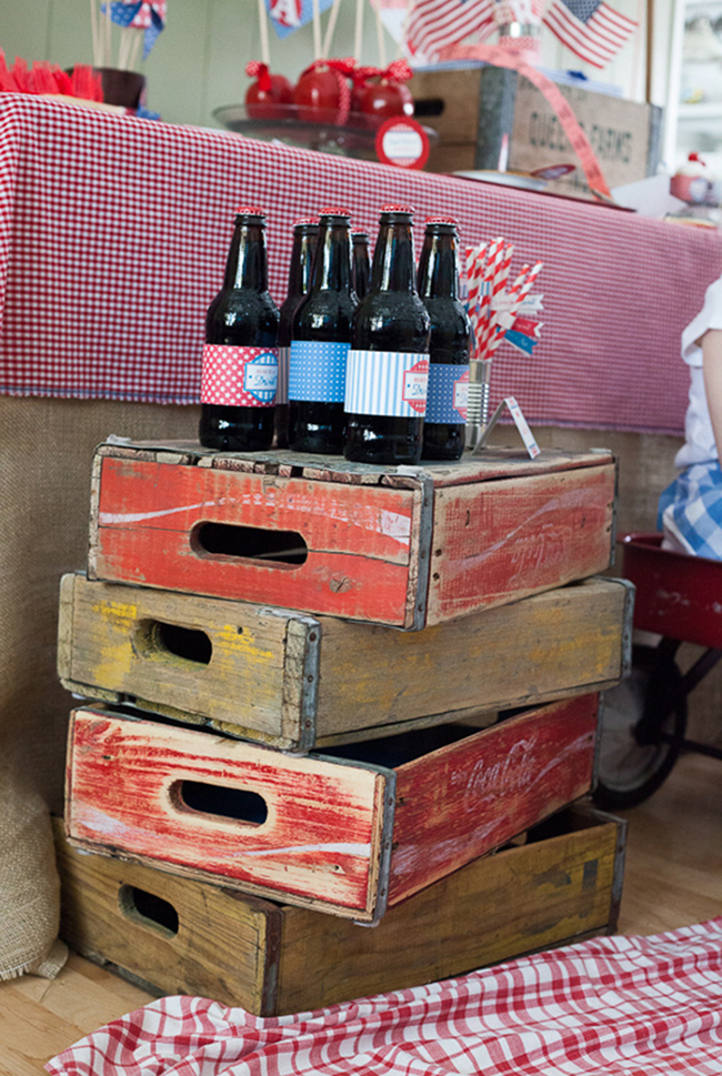 Vintage crates and old fashioned soda bottles
