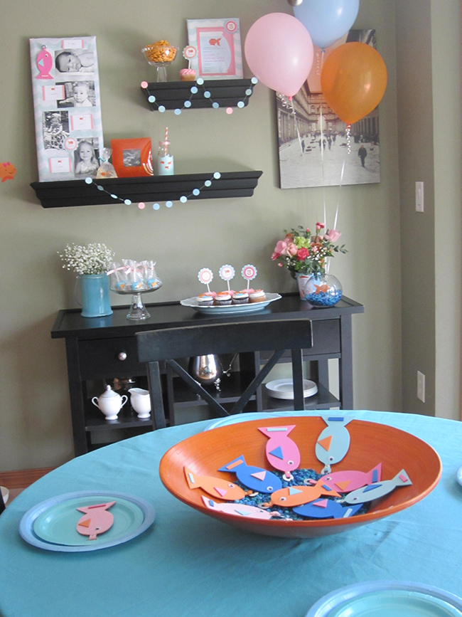 Pink goldfish birthday party with stickers and printables from Chickabug
