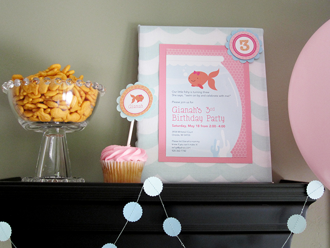 Pink goldfish birthday party - invitation and printables from Chickabug