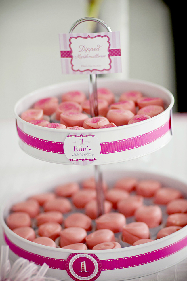 "Gorgeous ""Pretty in Pink"" first birthday party - sweets display with printables from Chickabug"