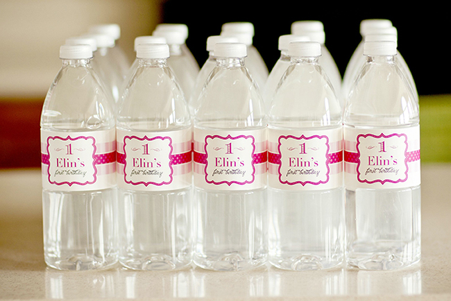 "Gorgeous ""Pretty in Pink"" first birthday party - water bottle labels from Chickabug"