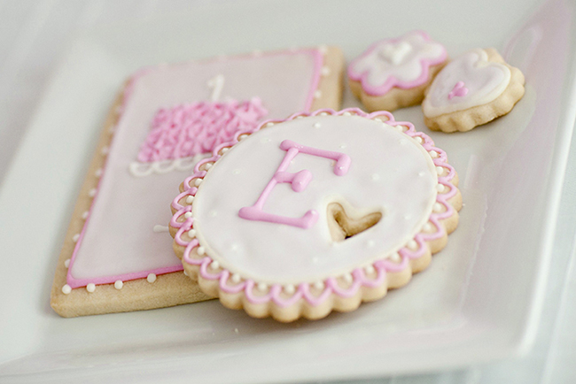 "Gorgeous ""Pretty in Pink"" first birthday party - cookies by www.sugardreamsaz.com"