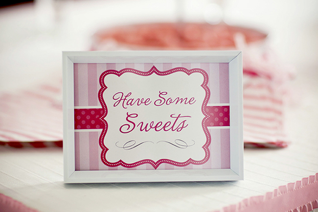 "Gorgeous ""Pretty in Pink"" first birthday party - printable sign from Chickabug"
