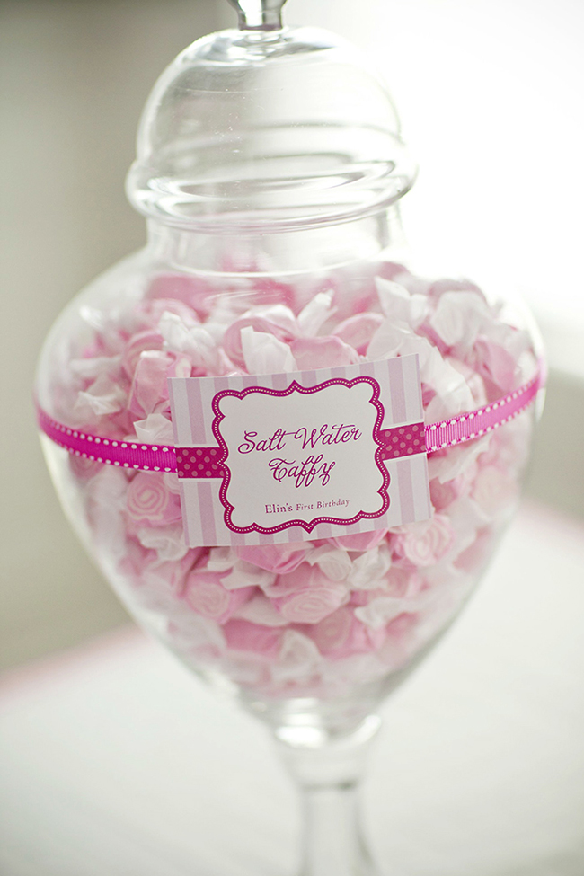 "Gorgeous ""Pretty in Pink"" first birthday party - sweets with printables from Chickabug"