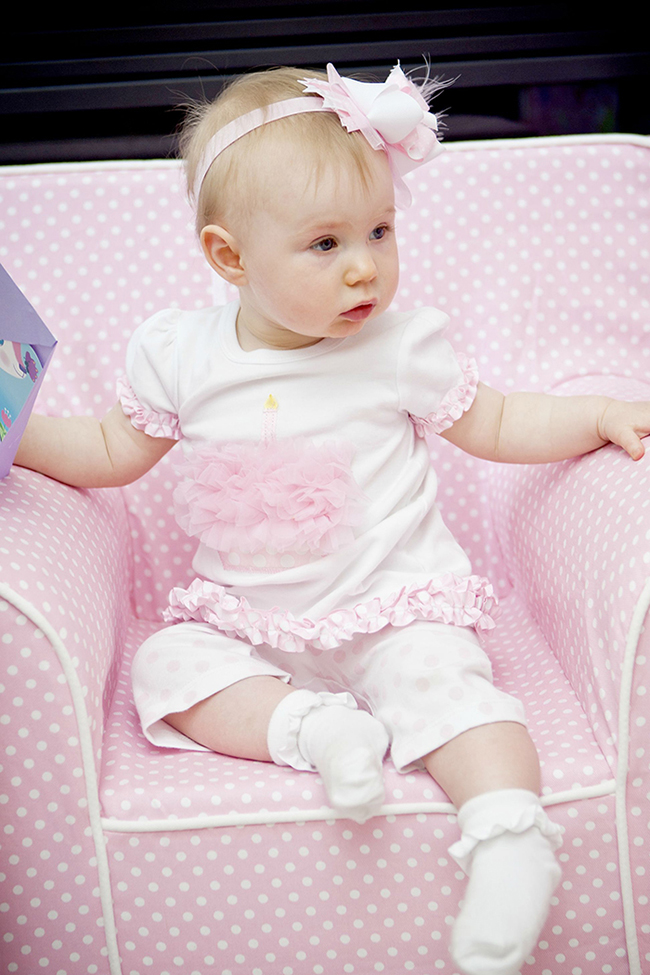 "Gorgeous ""Pretty in Pink"" first birthday party - ruffled pink birthday outfit from Mudpie"