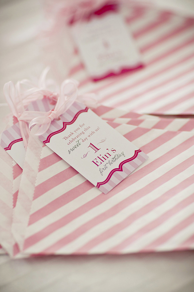 "Gorgeous ""Pretty in Pink"" first birthday party - favor bags with printables from Chickabug"