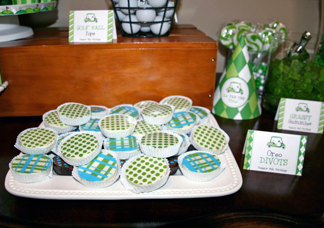 Golf theme birthday party with printables from Chickabug and Oreos from Sweeties by Kim