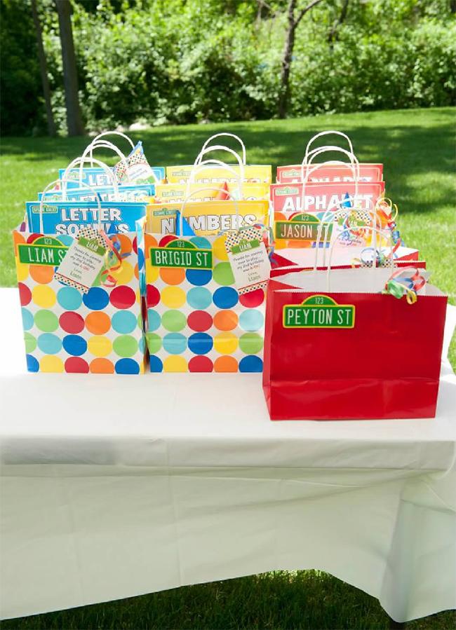 Sesame Street birthday party favor bags