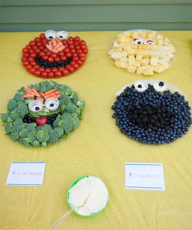 Sesame Street fruit and veggie platters