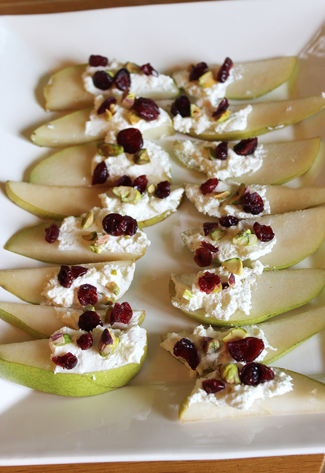 Pear bites – cream cheese, pistachios, and dried cranberries on top ...