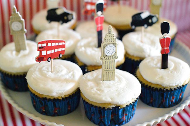 """London Calling"" 2nd birthday party - cupcake picks by Meri Meri"