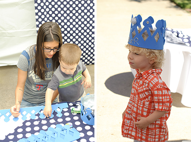 """London Calling"" 2nd birthday party - crown activity station"