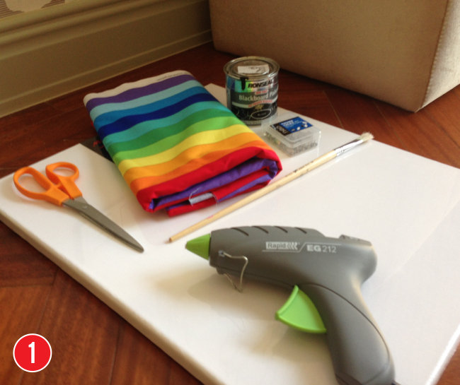 How to make a chalkboard artist's canvas - an easy & inexpensive craft project or party favor! #rainbowparty #artparty
