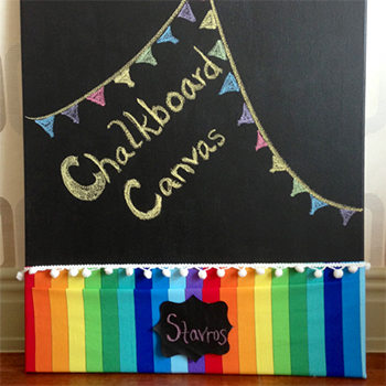 How to make a chalkboard canvas - an easy & inexpensive craft project or party favor! #rainbowparty #artparty