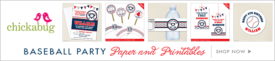 Baseball theme paper goods & printables from Chickabug.com