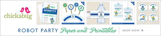 Chickabug robot theme paper goods & party printables www.chickabug.com