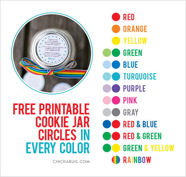 FREE printable cookie jar recipe circles in every color! | Chickabug