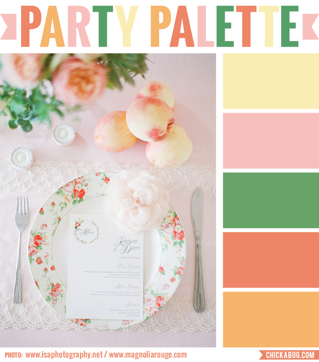 Party palette peach tablescape chickabug - Peach color paint palette ...