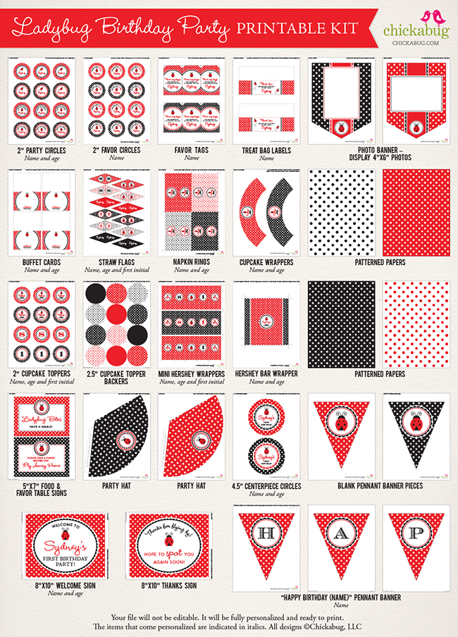Ladybug printables kit - everything you need to decorate for a party!