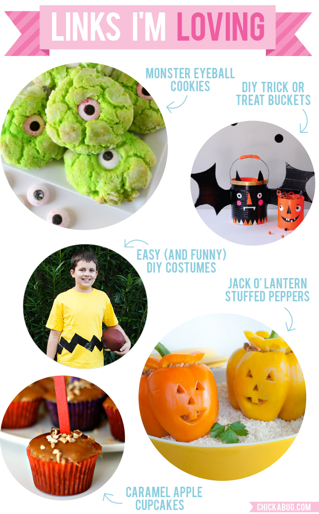 Links I'm Loving: Monster eyeball cookies, DIY trick or treat candy buckets, and more!