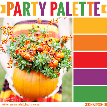 Party palette: Color inspiration in orange, red, purple and green #colorpalette