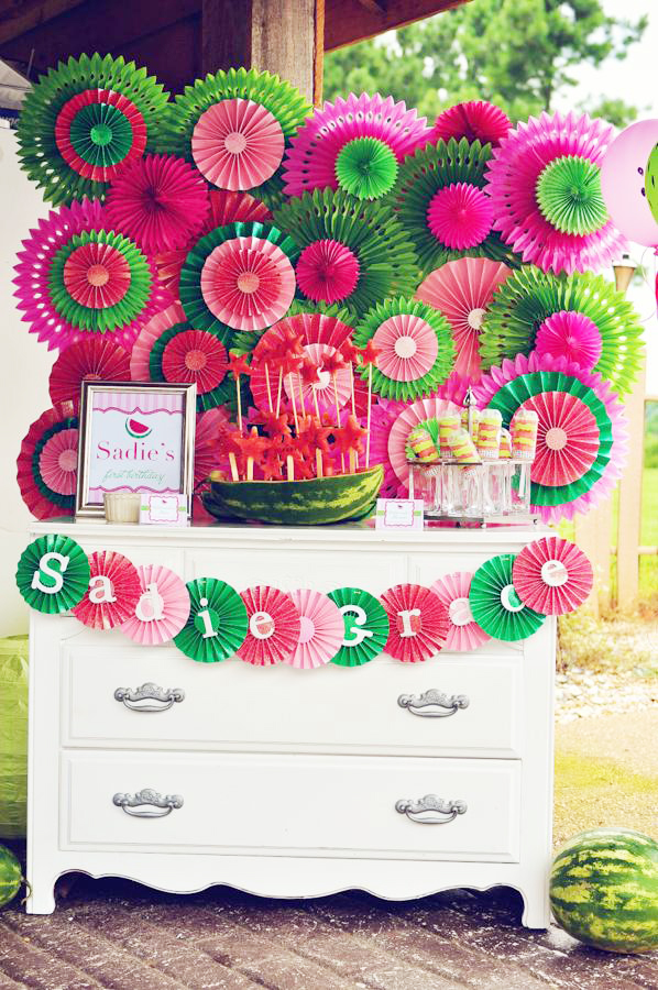 Beautiful watermelon theme first birthday party
