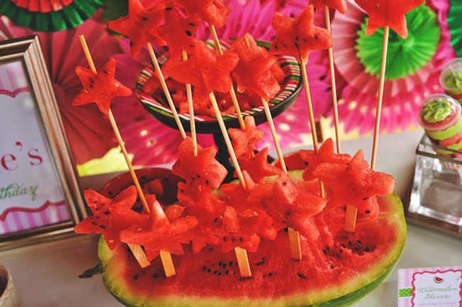 Watermelon theme birthday party foods