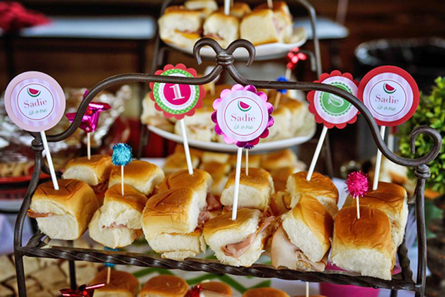 Watermelon theme birthday party - printable sandwich toppers from Chickabug