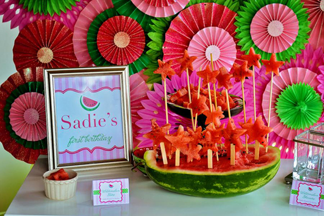 Watermelon theme birthday party - printables from Chickabug