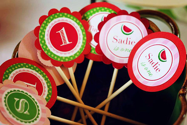 Watermelon theme birthday party - printable cupcake toppers from Chickabug