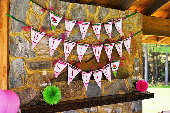 Watermelon theme birthday party - DIY printable pennant banner from Chickabug