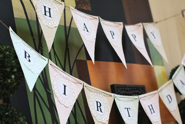 Spa theme birthday party - homemade Happy Birthday pennant banner