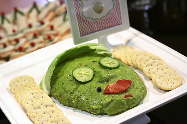 "Spa theme birthday party - ""spa-licious"" guacamole dip, how cute is that!"