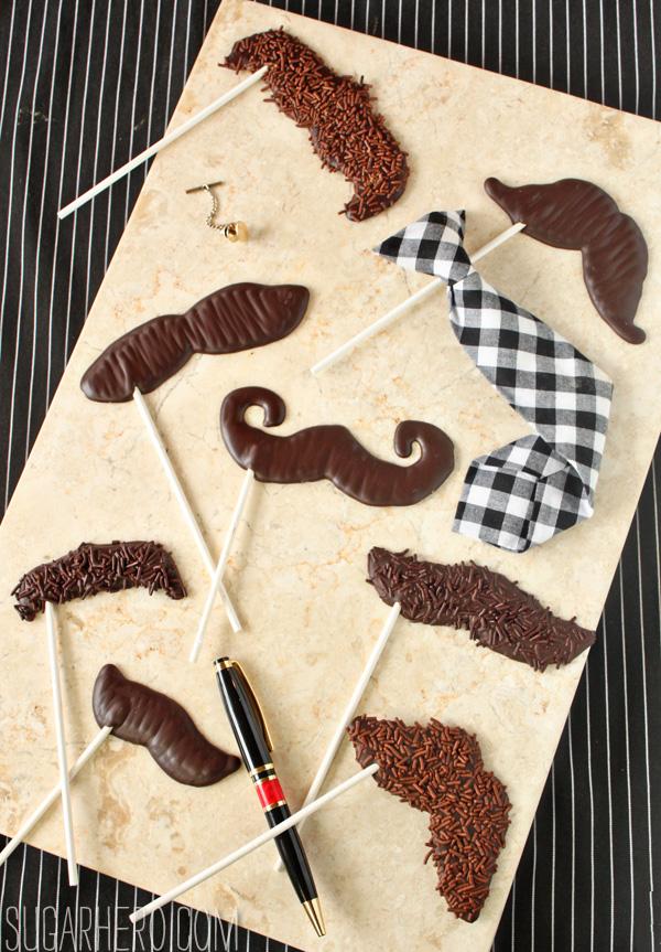 DIY chocolate mustache pops