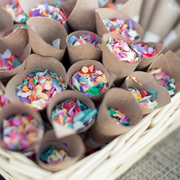 Confetti in cones for party guests