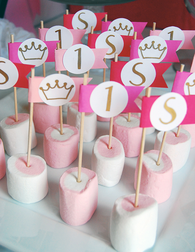Pink and white strawberry flavored marshmallows were decorated with