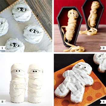 Mummy dessert and decor ideas for Halloween