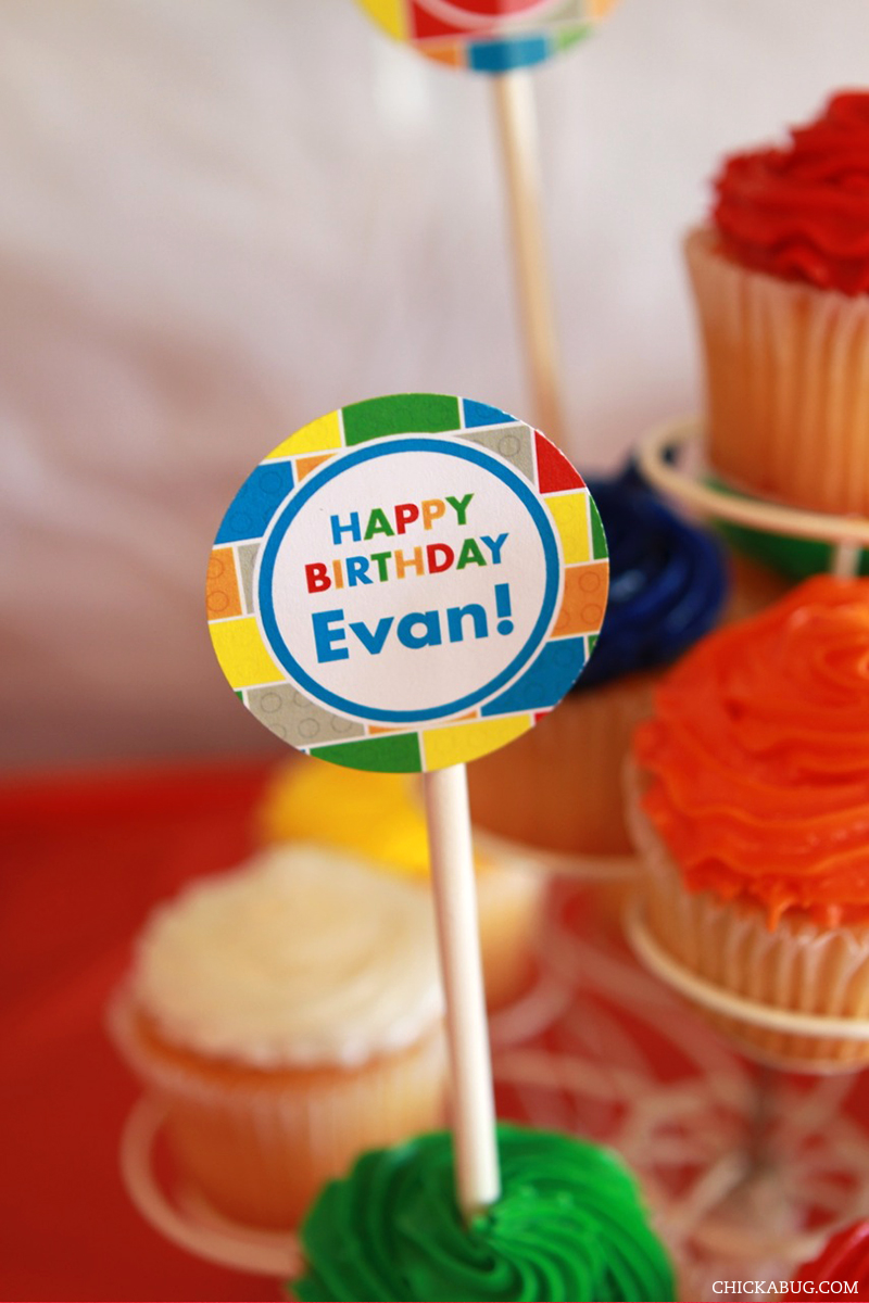LEGO® theme birthday party - printable cupcake toppers from Chickabug
