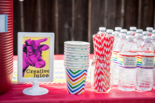 Pop art theme birthday party - personalized water bottle labels from Chickabug